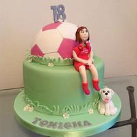 Girl's football cake