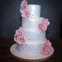 Pink Open Peonies Wedding Cake
