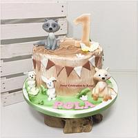 Butter cream cake with animals