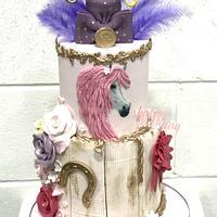 Horse design cake