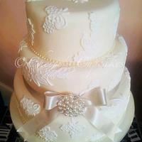 Pearl & Lace Wedding Cake by Cherry's Cupcakes