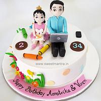 Customized cake for father and daughters joint birthday