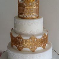 Gold and White Edible Lace Cake