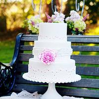 White with Pink Lace Cake