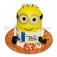 3d sculpted Minion cake