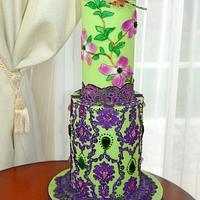 Botanical Garden Cake. Dragonfly
