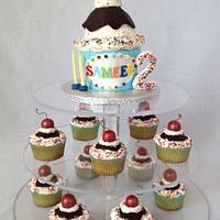 Ice cream sundae birthday cake and cupcakes