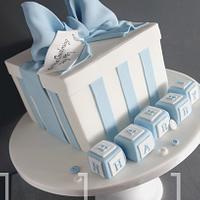 Gift Box Christening Cake