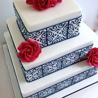 Square tiled wedding cake