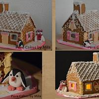 Penguins with their Gingerbread House