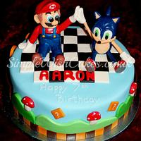 Best of friends...Sonic and Mario by Stef and Carla (Simple Wish Cakes)