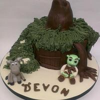 Donkey, Shrek and his house!  by amy
