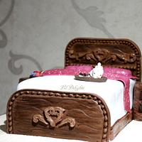 Wooden Bed Cake