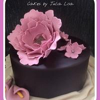 Chocolate Cake with large Peony
