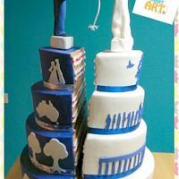 Split wedding cake