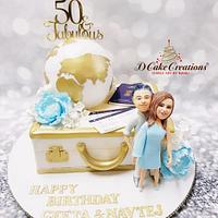 50 & Fabulous Travel Theme Cake