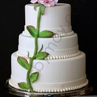 Single Rose Wedding Cake