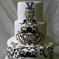 Damask scroll wedding cake