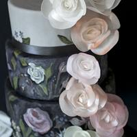 Bohemian handpainted old fashioned wafer paper roses