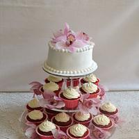 Cupcake tower for a wedding cake