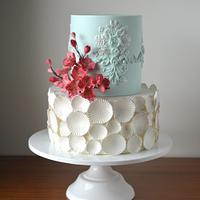 Blue and white birthday cake