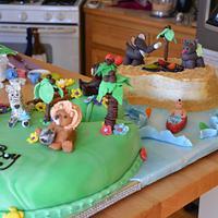 Baby Shower Jungle Island Cake