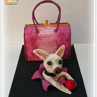 Guess handbag cake and chihuahua dog
