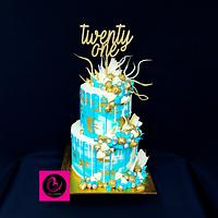 Teal gold and white 21st chocolate overload cake