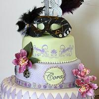 18th Birthday (more) Feminine Masquerade Themed Cake
