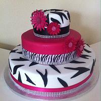 Zebra print pink & diamante