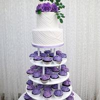 "Wedding cake with cupcakes tower "" Kirstin"""