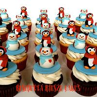 Penguin and Snowmen Cupcakes