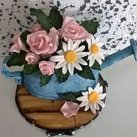 Watering can cake topper