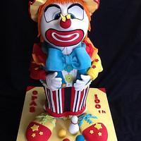 Cross eyed clown cake.