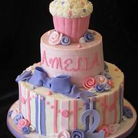 Girly Cupcake Themed Cake