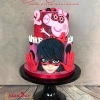 When Peppa Pig meets Miraculous Ladybug cake