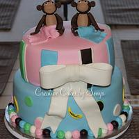Monkey Twins Baby Shower Cake