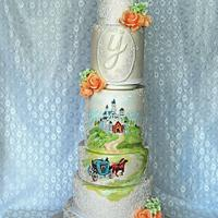 Princess hand-painted cake for the luxury wedding in Prague