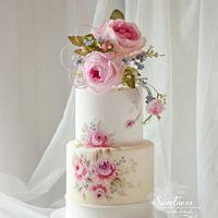 Painted Roses Cake with Wafer Paper Bouquet