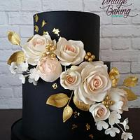 Black, Blush and Gold Floral Wedding Cake