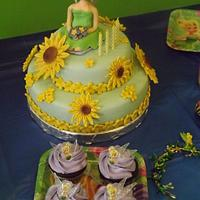 Tinkerbell Theme cake and cupcakes