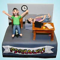 """Parkour"" The Office Cake"
