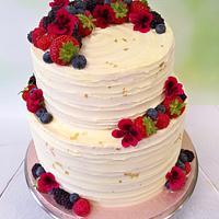 White chocolate and raspberry cake.