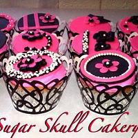 Pink and Black Cupcakes by Shey Jimenez
