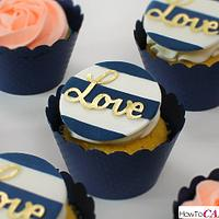 Navy and Gold Wedding Cupcakes