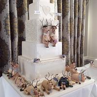 Christmas reindeer wedding cake