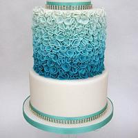 Turquoise Ombre Ruffle Style 3 Tier Wedding Cake