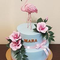 Birthday cake with flamingo