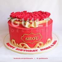 60 Red Roses Birthday Cake