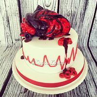 Gory Heart Medical Cake